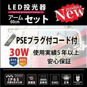 アームライト 激安! 屋外照明 IP65 LED投光器30W 60cmアームセット ホワイト 3Mコード プラグ付き topkanban
