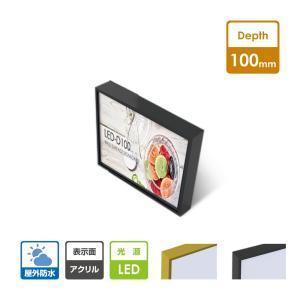 (WD100-LED) 薄型前脱着式アクリル板タイプLEDファサード/壁面看板(小型〜中型) W900mm*H450mm*D100mm  WD100-900-450|topkanban