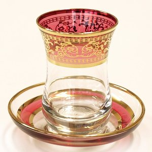 トルコ製チャイグラス CB-108 金彩装飾/ピンクレッド(1客)