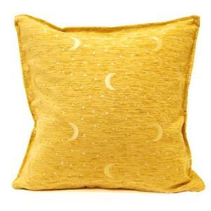トルコ製 シェニールクッションカバー CC-AY3YL 月と星 (新タイプ)/イエロー 40〜45cm角対応 (タッセルなしタイプ)の写真