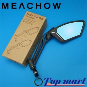 MEACHOW メカウ 自転車 バックミラー 可動式ラウンドガラスミラー type TETRA (ブルーミラー) topmart-s