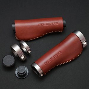 THEODORE セオドール イタリアンレザー 本革グリップ 128mm Brown|topmart-s