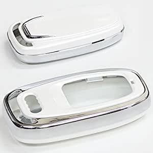 アウディ 純正適合 リモコン スマートキーケース 高級仕様ホワイトパール Audi専用 キー 保護カバー アウディ用 鍵 キーレス キーレスカバー キーケース|topsense