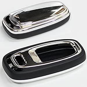 アウディ 純正適合 リモコン スマートキーケース 高級仕様クロームシルバー Audi専用 キー 保護カバー アウディ用 鍵 キーレス キーレスカバー キーケース|topsense