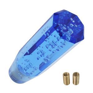 クリスタルシフトノブ バブル シフトノブ レバー 八角 150mm 15cm ブルー アクリル MT車 AT車 デコトラ トラック アダプター 付属 社外品 青 topsense