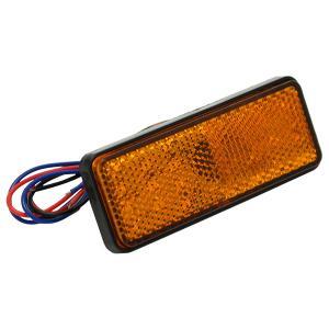 送料無料 12V車 LED リフレクター オレンジ ライト 24連LED スモール ブレーキ バック 連動 補助灯  サイドマーカー 角型 反射板|topsense