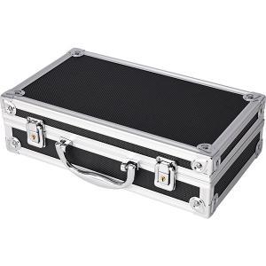 アルミケース 黒 アルミフレーム 小型 道具箱 ガンケース ハード アルミ ケース ウレタンスポンジ付き 収納 アタッシュケース付き|トップセンス