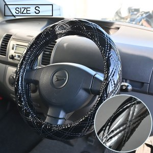 Azur ステアリングカバー ラメブラック ハンドルカバー S XS55A24A-S エブリイ (外径約36-37cm)