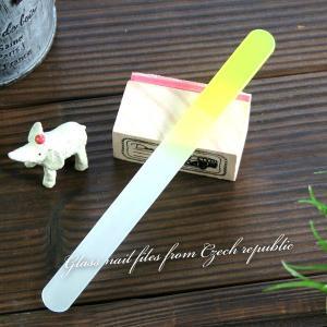 〜洗って何度でも使える〜 ガラスの爪やすり 【チェコ製】   カラーファイル(イエロー)|topstarjapan