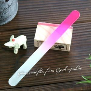〜洗って何度でも使える〜 ガラスの爪やすり 【チェコ製】   カラーファイル(ピンク)|topstarjapan