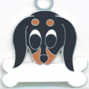 ミニチュアダックス(黒) 犬 迷子札 ドッグタグ トップワン 【名入れ】  犬鑑札 IDプレート メール便  アクセサリー  携帯ストラップ|topwan