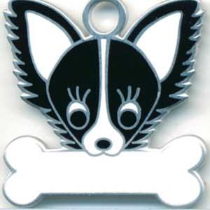 チワワ(B) 犬 迷子札  ドッグタグ 【名入れ】 トップワン  犬鑑札 IDプレート メール便 アクセサリー  携帯ストラップ|topwan