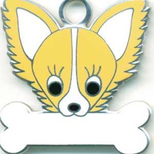 チワワ(C) 犬 迷子札  ドッグタグ 【名入れ】 トップワン  犬鑑札 IDプレート メール便 アクセサリー  携帯ストラップ|topwan