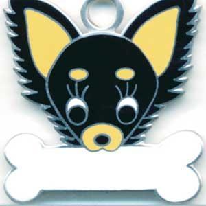 チワワ(D) 犬 迷子札  ドッグタグ 【名入れ】 トップワン  犬鑑札 IDプレート メール便 アクセサリー  携帯ストラップ|topwan