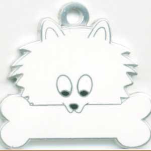 ポメラニアン(白)  犬 迷子札  ドッグタグ 【名入れ】 トップワン  犬鑑札 IDプレート メール便 アクセサリー  携帯ストラップ|topwan