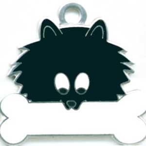 ポメラニアン(黒) 犬 迷子札  ドッグタグ 【名入れ】 トップワン  犬鑑札 IDプレート メール便 アクセサリー  携帯ストラップ|topwan