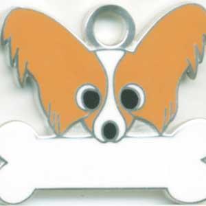 犬 迷子札 パピヨン(茶) ドッグタグ トップワン 【名入れ】  販売 犬鑑札 IDプレート  アクセサリー  携帯ストラップ 刻印 名前|topwan
