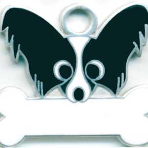 犬 迷子札 パピヨン(黒) ドッグタグ  トップワン 【名入れ】  販売 犬鑑札 IDプレート  アクセサリー  携帯ストラップ 刻印 名前|topwan