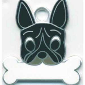 犬 迷子札 フレンチブルドッグ(黒) フレブル ドッグタグ トップワン  【名入れ】 販売 犬鑑札 IDプレート  アクセサリー  携帯ストラップ 刻印 名前|topwan