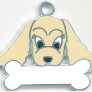 犬 迷子札 コッカースパニエル(茶)  ドッグタグ  トップワン  【名入れ】 販売 犬鑑札 IDプレートアクセサリー 携帯ストラップ 刻印 名前|topwan