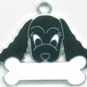 犬 迷子札 コッカースパニエル(黒) ドッグタグ トップワン【名入れ】 販売 犬鑑札 IDプレート  アクセサリー  携帯ストラップ 刻印 名前|topwan