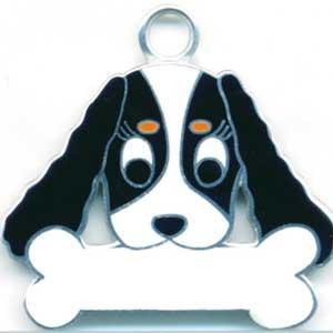 犬 迷子札 キャバリア(黒) ドッグタグ  【名入れ】 販売 犬鑑札 IDプレート アクセサリー トップワン 携帯ストラップ 刻印 名前|topwan