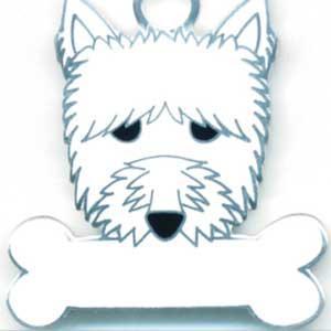 犬 迷子札 ウエストハイランドホワイトテリア ドッグタグ  トップワン 【名入れ】 犬鑑札 IDプレート  アクセサリー  携帯ストラップ 刻印 名前|topwan