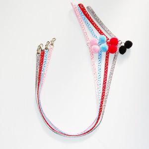 水玉 ボンボン リード(ポンポンリード) 布×ナイロン 犬猫兼用 国産 ペットグッズ 小型犬  メール便 【ペット用品 通販 トップワン】|topwan