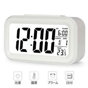 目覚まし時計 デジタル大画面 見やすい置き時計カレンダー表示...