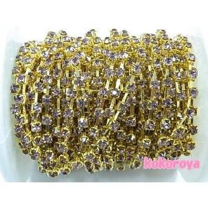 高級ガラス製ダイヤチェーン ゴールド台座 ライトアメジスト石 (10cm)