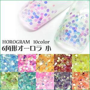 ホログラム (6角形オーロラ小) たっぷり約2g【ホログラム/丸/ネイル/ゴールド/オーロラ/六角】|tora-shop