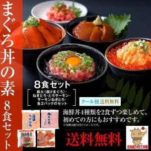 クーポン 丼 マグロ 鮪 マグロ丼 送料無料 まぐろ丼Aセット マグロ漬け2p・ネギトロ2P+サーモ...