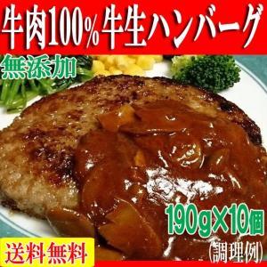 ハンバーグ 牛肉 お肉 肉 焼き肉 bbq バーベキュー  牛肉100% 牛生 190g×10個 冷凍A|toretate1ban