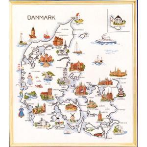 OOE クロスステッチ刺繍キット 15182 地図 Danmark (Denmaek)  【取り寄せ/納期40〜80日程度】 デンマーク|torii