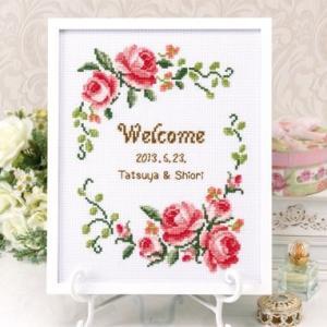Olympusクロスステッチ刺繍キット 7428 「グレイスフルローズ」 ローズ ウェルカムボード ウェディング結婚式・披露宴に オリムパス|torii
