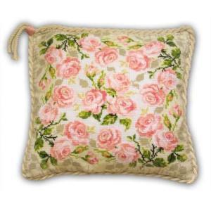RIOLISクロスステッチ刺繍キット No.720 「Roses Cushion」 (バラ 薔薇 クッション40cm角)|torii