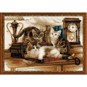 RIOLISクロスステッチ刺繍キット No.1247 「Furry Friends」 (毛むくじゃらの友達 ネコ 猫 ねこ)|torii
