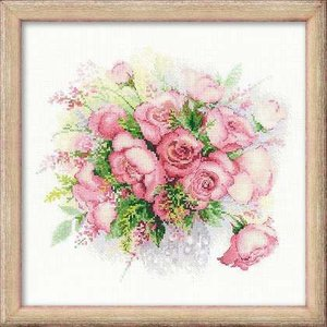 RIOLISクロスステッチ刺繍キット No.1335「Watercolour Roses」 (花瓶のばら バラ 薔薇)|torii