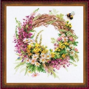 RIOLISクロスステッチ刺繍キット No.1456 「Wreath with Fireweed」 (ヤナギランのリース)|torii