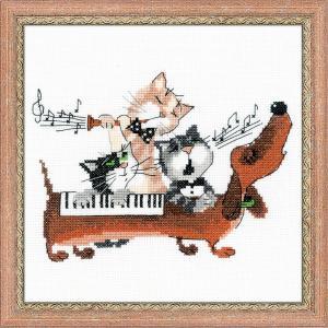 RIOLISクロスステッチ刺繍キット No.1495 「Dachshund Blues」 (ダックスフントのブルース)  猫 犬 ネコ イヌ ねこ いぬ|torii