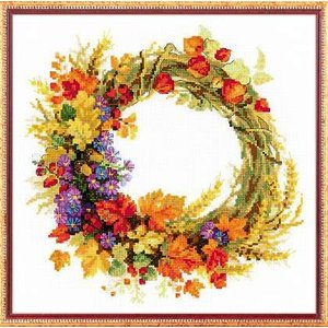 RIOLISクロスステッチ刺繍キット No.1537 「Wreath with Wheat」 (小麦のリース)|torii