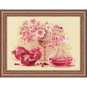 RIOLISクロスステッチ刺繍キット No.1618 「Pink Pomegranate」 (ピンクのザクロ) 【取り寄せ/納期1〜2ヶ月】|torii