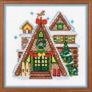 RIOLISクロスステッチ刺繍キット No.1660 「Winter Cabin」 (冬のキャビン) 【取り寄せ/納期1〜2ヶ月】 クリスマス Christmas Xmas|torii