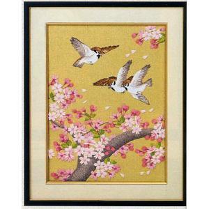 東京文化刺繍キット No.98 「桜吹雪」 【3号】 【花・植物】 【動物】 【花鳥】|torii