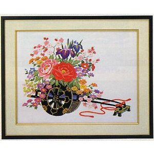 東京文化刺繍キット No.468 「花車」 【4号】 【花・植物】|torii