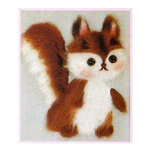 東京文化刺繍キット No.761 「こりす」  【1号】 【額付き】 【毛立】 【動物】 リス 栗鼠|torii