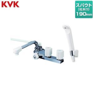 デッキ型 2ハンドルシャワー(左側シャワー) 浴室水栓 190mmパイプ付 KVK KF13GECN torikae-com