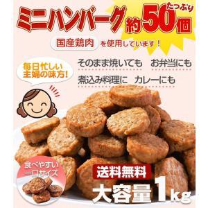 送料無料 ハンバーグ メガ盛り約50個(1kg)一口サイズのミニハンバーグ(国産鶏使用)カレー、お弁当、朝食に最適なお惣菜、おかずレンジでチン 鳥益|torimasu