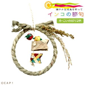 CAP! 鳥のおもちゃ こどもの日 インコの節句 小・こいのぼり2匹|torimura