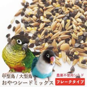 CAP! 鳥の餌 国内産 おやつシードミックス 中型鳥/大型鳥 フレークタイプ 500g|torimura
